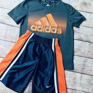 Boys sz S 7/8 Athletic short & tee Adidas Nike